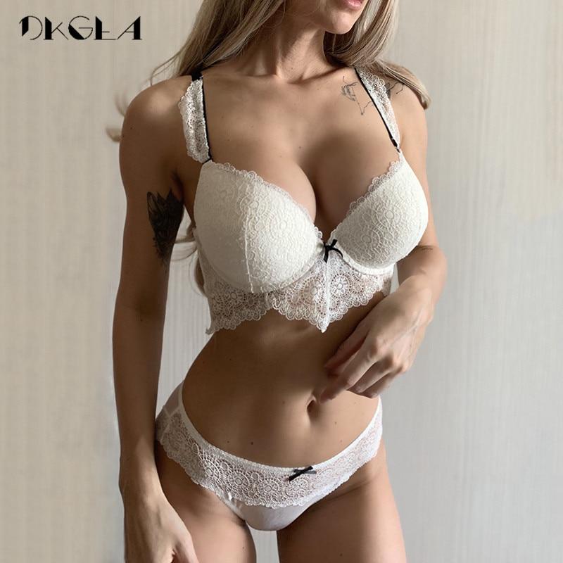 New White Sexy Bra Panties Set Lace Brassiere Deep V Push Up Bras Women Underwear Set Cotton Thick Black Lingerie Set Embroidery-in Bra & Brief Sets from Underwear & Sleepwears