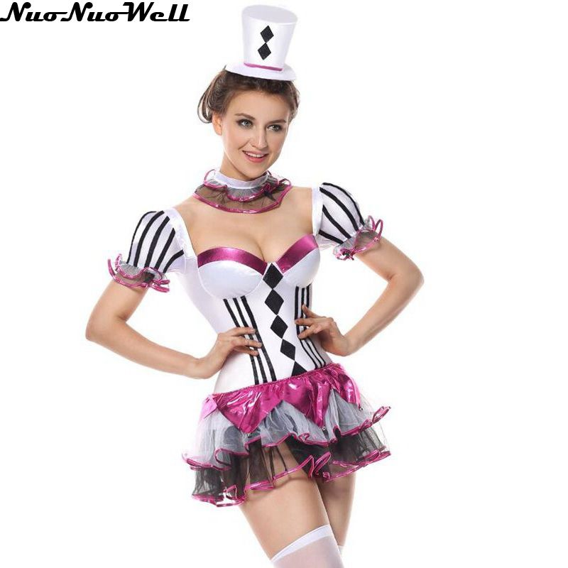 new style cute girl skirt halloween cosplay costumes adult female clown dress high quality masquerade carnival - Girl Clown Halloween Costumes