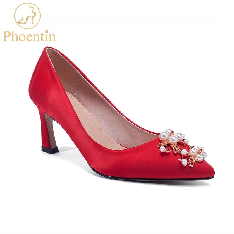 Phoentin red rhinestone wedding shoes woman 2019 hoof high heels 6 5cm 8 5cm female pumps