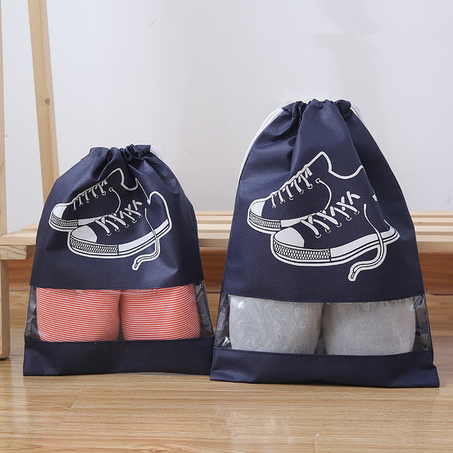 New 2 Sizes Waterproof Shoes Bag Travel Portable Shoe Storage Bag sneaker Pocket Tote Drawstring Bags Non-Woven Organizador