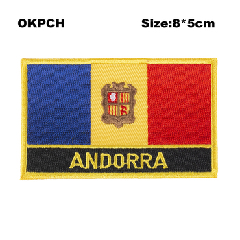 Andorra Square Shape Iron-on Flag Patch Embroidered Saw on Badges Patches for Clothing PT0014-R image