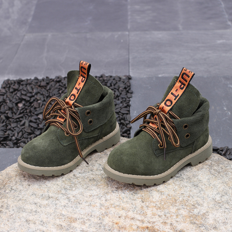2017 New Kids Martin Boots Genuine Leather Brown Boots Ankle High Soft Sole Children Autumn Shoes Army Green Boy Boot Size 26-37 newborn kids high prewalker soft sole cotton ankle boots crib shoes sneaker first walkers