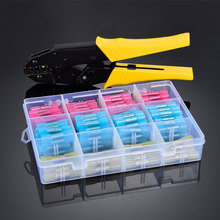 цена на HS-40J+200PCS/BOX waterproof terminal crimping pliers 0.5-6mm heat shrinkable tube connection wiring nose crimping tool set