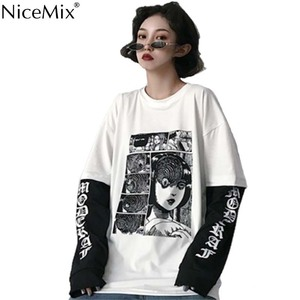 NiceMix Harajuku T-shirt Women Fake 2 Pieces Print Japanese Fujiang Horror Comics Long Sleeve Shirt Women Vetement Femme 2019(China)