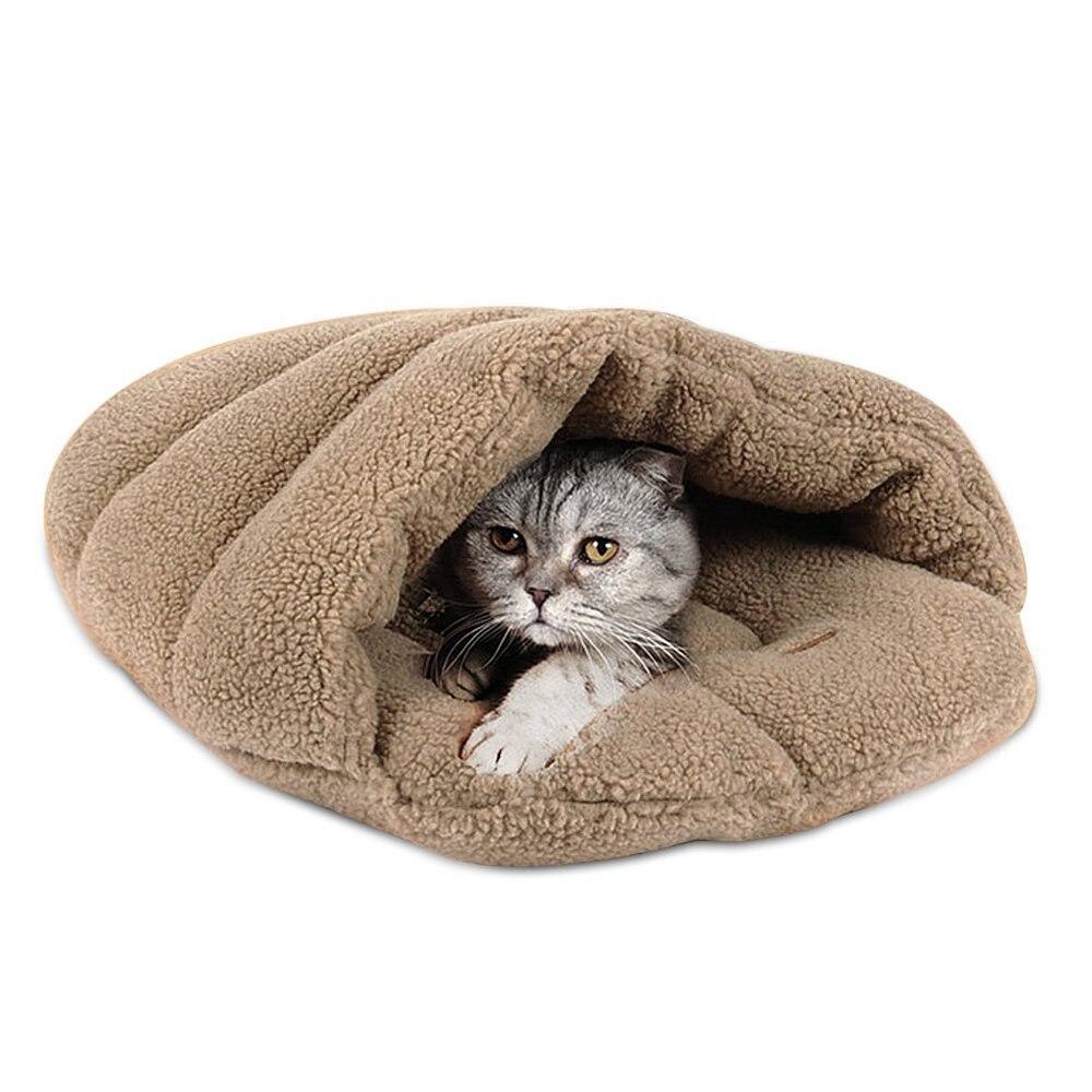 Winter Slippers Style Windproof Warm Pet Bed Mat House Cat Sleeping Bag Light tan
