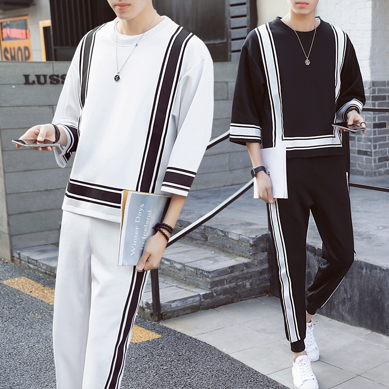 Vintage Track Suit Spring Summer Casual Jogger Sporting Tracksuit Hip Hop Mens Set Contr ...