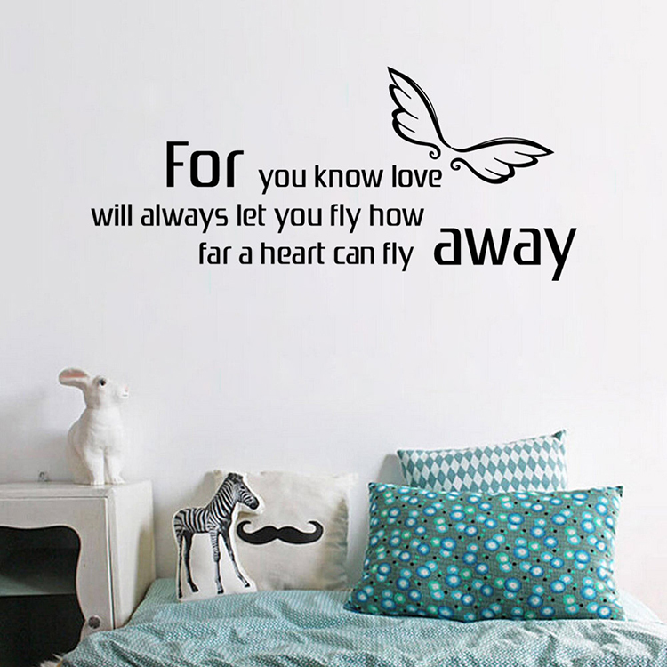 New arrive angel fly small wall sticker quote diy art decals paper ...