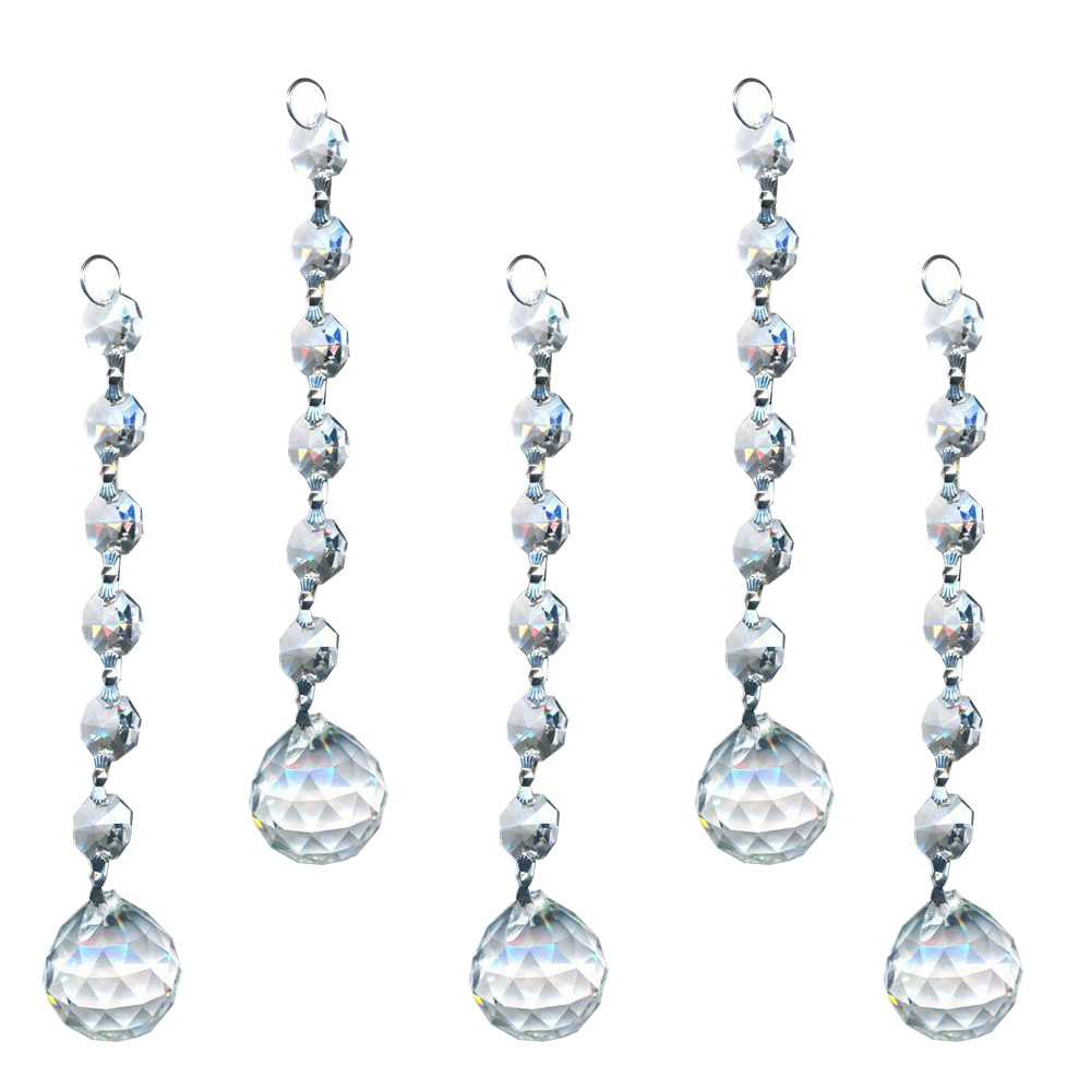 H&D 10pcs / set Kristalni lusteri Privjesci 20mm Faceted Ball Vjenčanje Dekor Chain Drop prizme Home Viseći ukrasi Pribor
