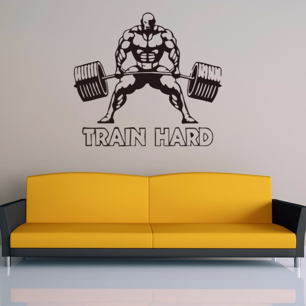 Train Hard Wall Sticker Body Building Muscle GYM Sport Wall Decals ...