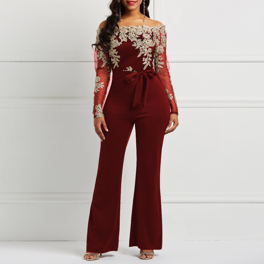 Clocolor Women Jumpsuit Luxury Lace Patchwork Mesh Transparent Off Shoulder Autumn Winter Long Sleeve Wide Legs Sexy Jumpsuit #4