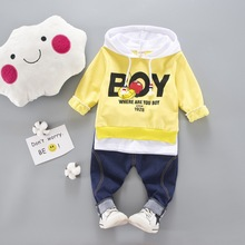 2019 new spring and autumn baby boy clothes sets fashion childrens hooded coat+denim pants body suit kids jeans clothing