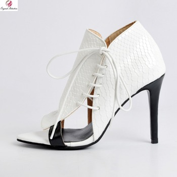 Original Intention Stylish Women Ankle Boots Peep Toe Thin High Heels Spring/Autumn Boots White Shoes Woman Plus US Size 4-15