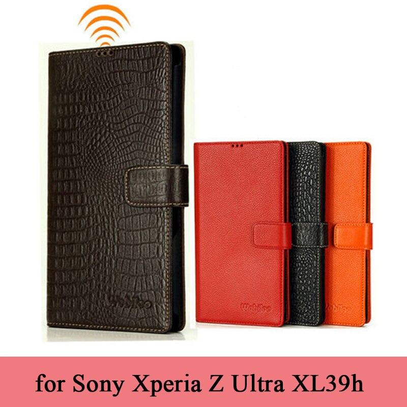 Italien Importé Véritable Étui En Cuir pour Sony Xperia Z Ultra XL39h Couverture de Téléphone De Luxe D'affaires Flip Protection Portefeuille Cas Sac
