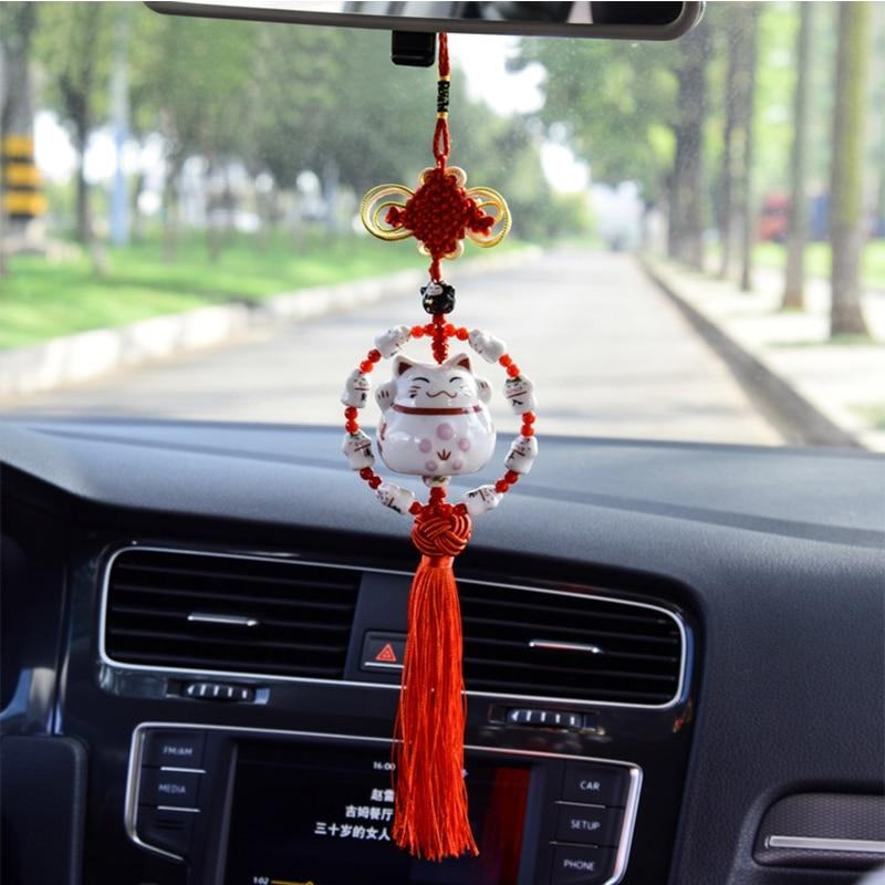 2 Pcs//Set Car Pendant Smiling Lucky Cartoon Cat Decoration Auto Interior Rearview Mirror Fur Tassels Hanging Ornament Accessory 3