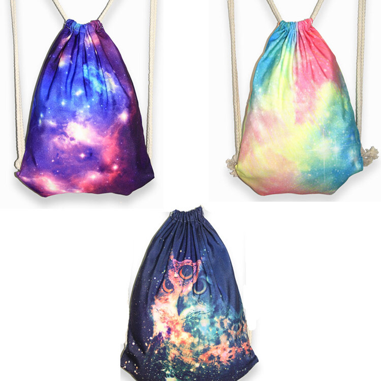 Harajuku Style Beam Pocket Purple Star Galaxy Printing Receive A Pull On The Rope Canvas Backpack Shoulders Draw String Bag In Backpacks From Luggage Bags