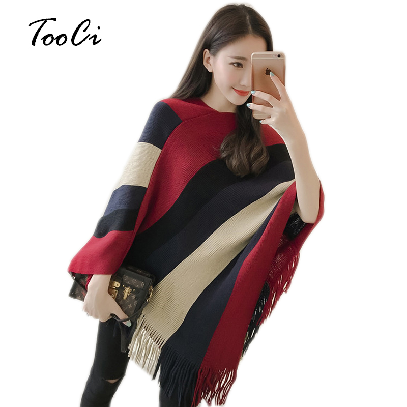 Autumn Winter Scarf Women Striped Red Ponchos And Capes Bat Sleeve Women Pullover And Sweater Tassels Poncho Cloak Coat Outwear