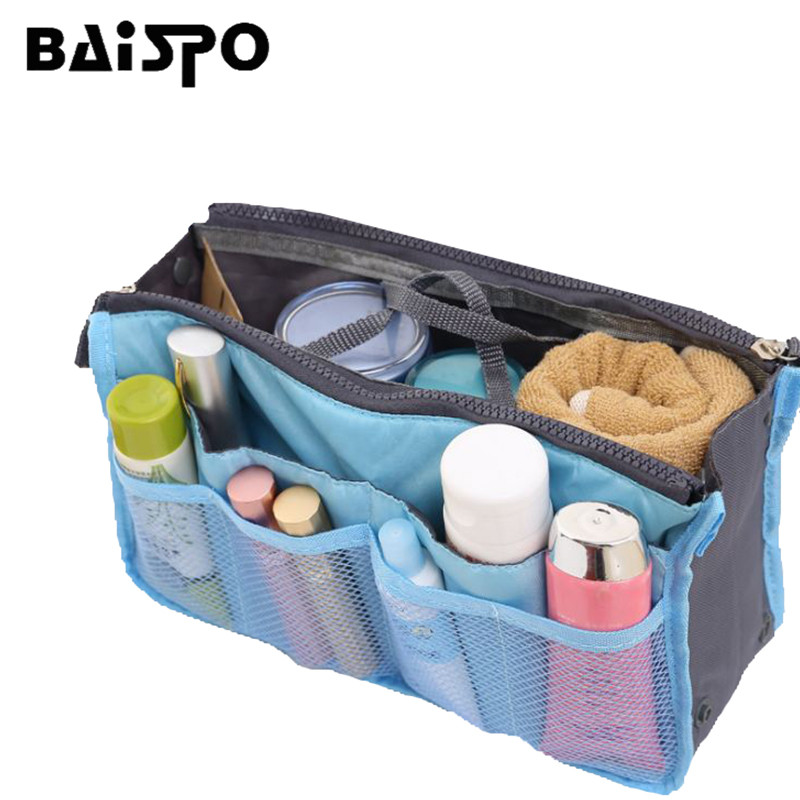 BAISPO Storage Bag Portable Double Zipper Insert Organiser Handbag Storage Women Travel Bag Organizer For Cosmetics