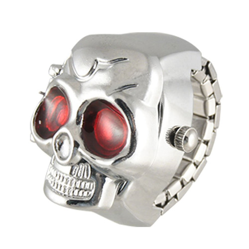 YCYS-New Practical Red Eyes Skull Design Stretchy Band Quartz Ring Watch For Lady Men