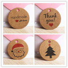 100 pcs 3cm Thank you with Red Heart handmade Kraft Gift Tags Wedding Party Paper Hang Tags Price Label Hang Tag(China)