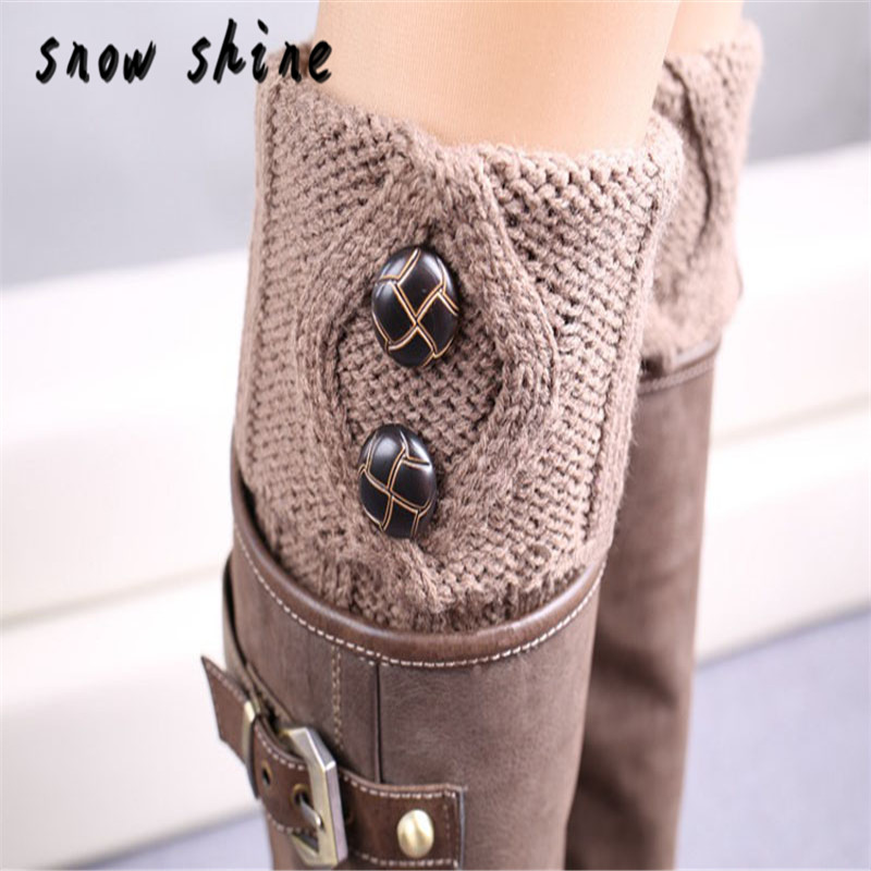 snowshine YLI Women Winter Leg Warmer Button Crochet Knit Boot Socks Toppers Cuffs free shipping