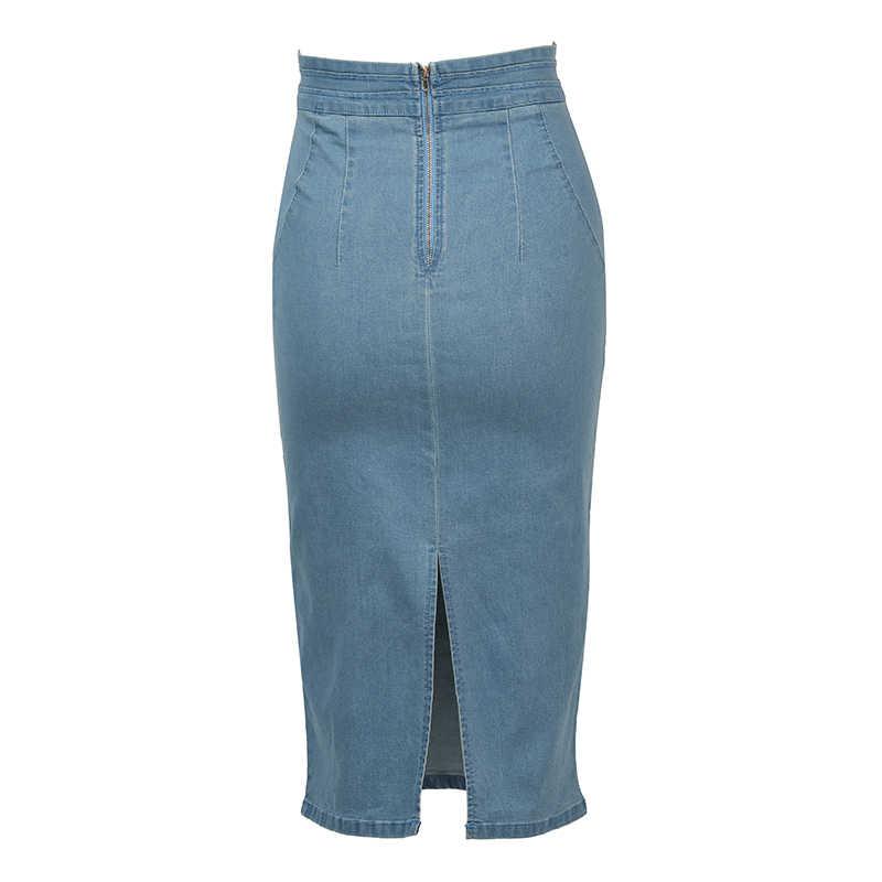 8b373bad5d ... Chictorso High Waist Denim Skirt Sexy Bodycon Midi Skirt Summer Pencil  Skirt Girls Jeans Skirts Women ...
