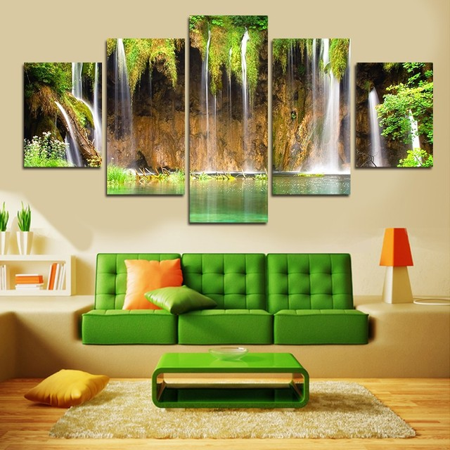 5 Panels Framed Beautiful Waterfall Painting Canvas Wall Art Picture Home Decoration  Sitting Room Canvas Print