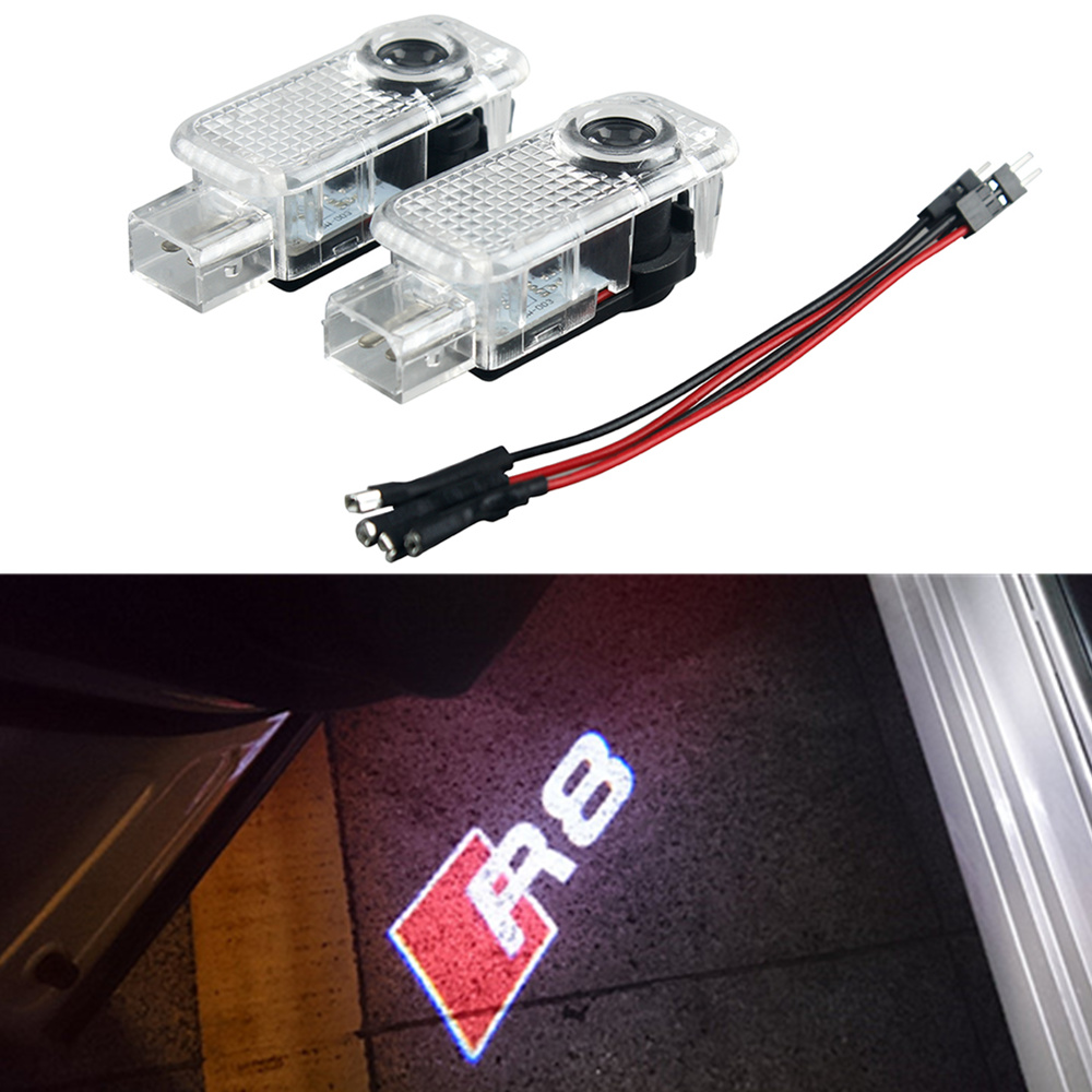 2xCar LED Projector Laser Courtesy Personality R8 Logo Light For Audi Sline A8 A7 A5 A6 A4 A3 A1 R8 TT Q7 Q5 Q3 car styling