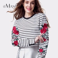 EManco White Striped Long Sleeves Casual T Shirts For Women Fashion Rose Flower Embroidery Women S
