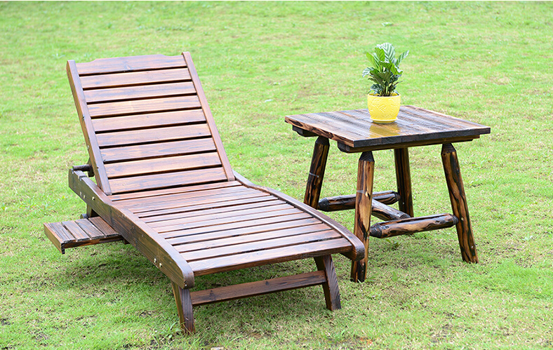 Wood Sun Lounger With Adjustable Back And Side Tray Set Outdoor Furniture  Modern Garden Patio Beach