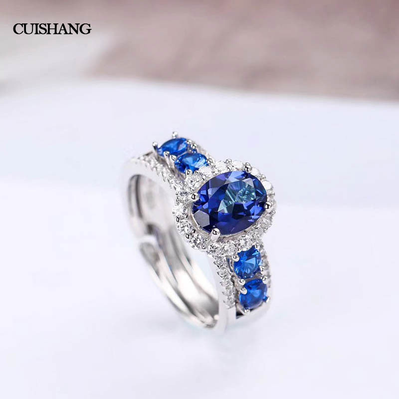 CSJ Real Blue Topaz Ring 925 Sterling Silver Engagement Rings For Women Brand Fine Jewelry csj 100