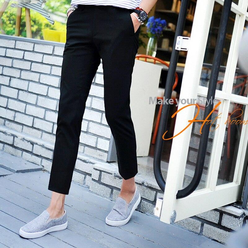 New 2020 Spring Summer Men's Casual Pants Black British Harem Leg Trousers Slim Fit City Street Teenager Boys Pencil Pants