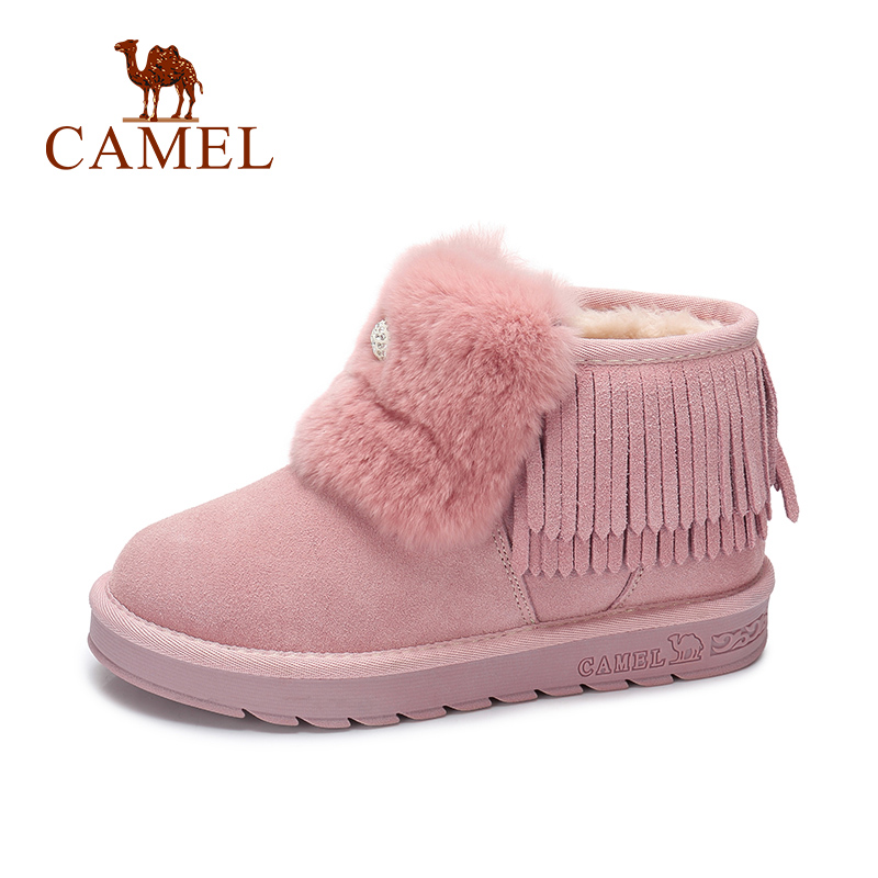 CAMEL Snow Boots Shoes Women 2018 Winter New Furry Boots Shoes Women Lovey Pink Style Keep Warm Plus Velvet Shoes цена
