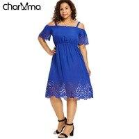 c0976440c4 Plus Size Women Casual Dress 5XL Open Shoulder Floral Print Flowy Dresses  Summer Cutwork Knee Length