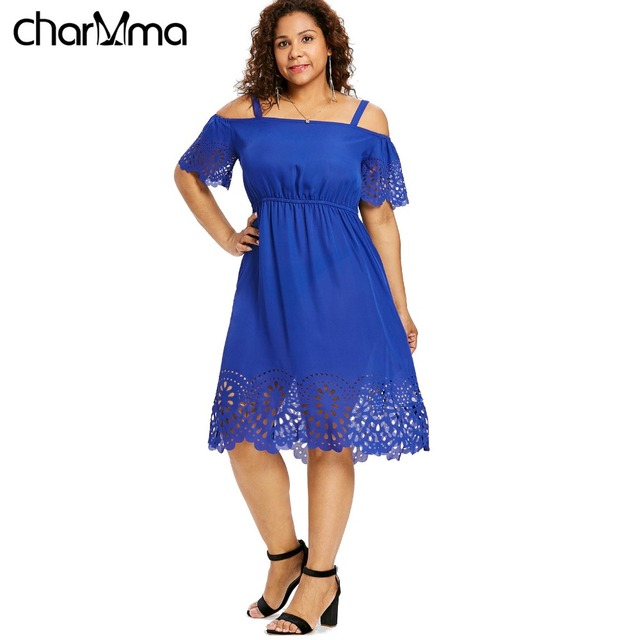 03a78be123 US $16.78 9% OFF|Plus Size Women Casual Dress 5XL Open Shoulder Floral  Print Flowy Dresses Summer Cutwork Knee Length Dress Half Sleeve  Vestidos-in ...