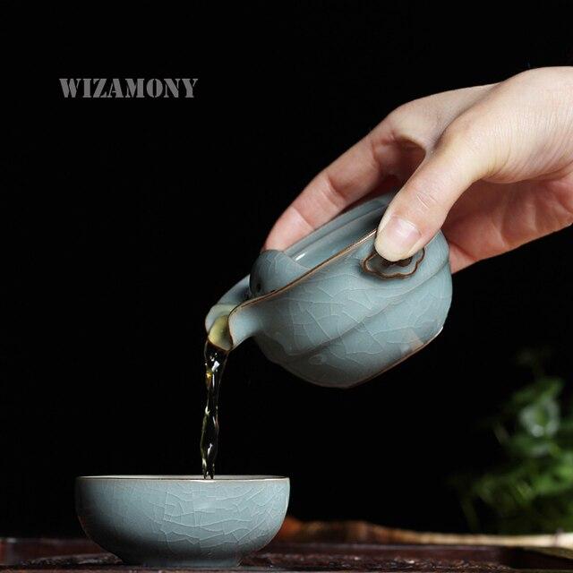 Kung Fu Tea set Include 1 Pot 1 Cup Elegant Gaiwan Beautiful teapot kettle Coffee Cup Chinese Longquan Celadon Porcelain Tea Pot
