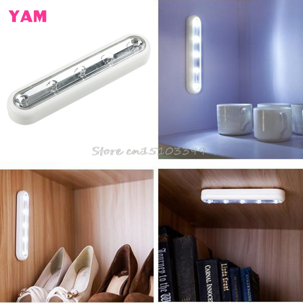 5 LED Touch Night Light Under Cabinet Closet Push Tap Stick On Lamp Home Kitchen G08 Drop ship
