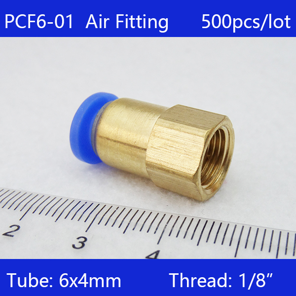 Free shipping HIGH QUALITY 500pcs BSPT PCF6 01 6mm to 1 8 Pneumatic Connectors Female straight