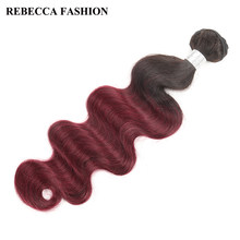 Rebecca Brazilian Body Wave 10 To 30 Inch Bundles Ombre Hair 1 Bundle Deals 1b/99j Red Color Remy Human Hair Extensions(China)