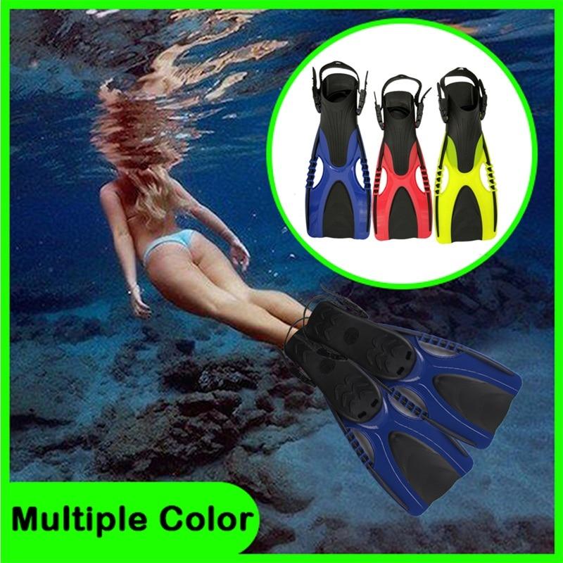 Palmes de natation réglables adultes courtes chaussures de plongée palmes de natation Flipper de pied professionnel palmes de plongée avec talon 15-0011