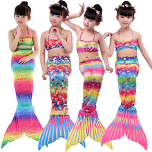 3PCS Halloween Childrens diamond swimsuit Mermaid Tail With Monofin Fin Girls Swimsuit Costume for 4-12Year