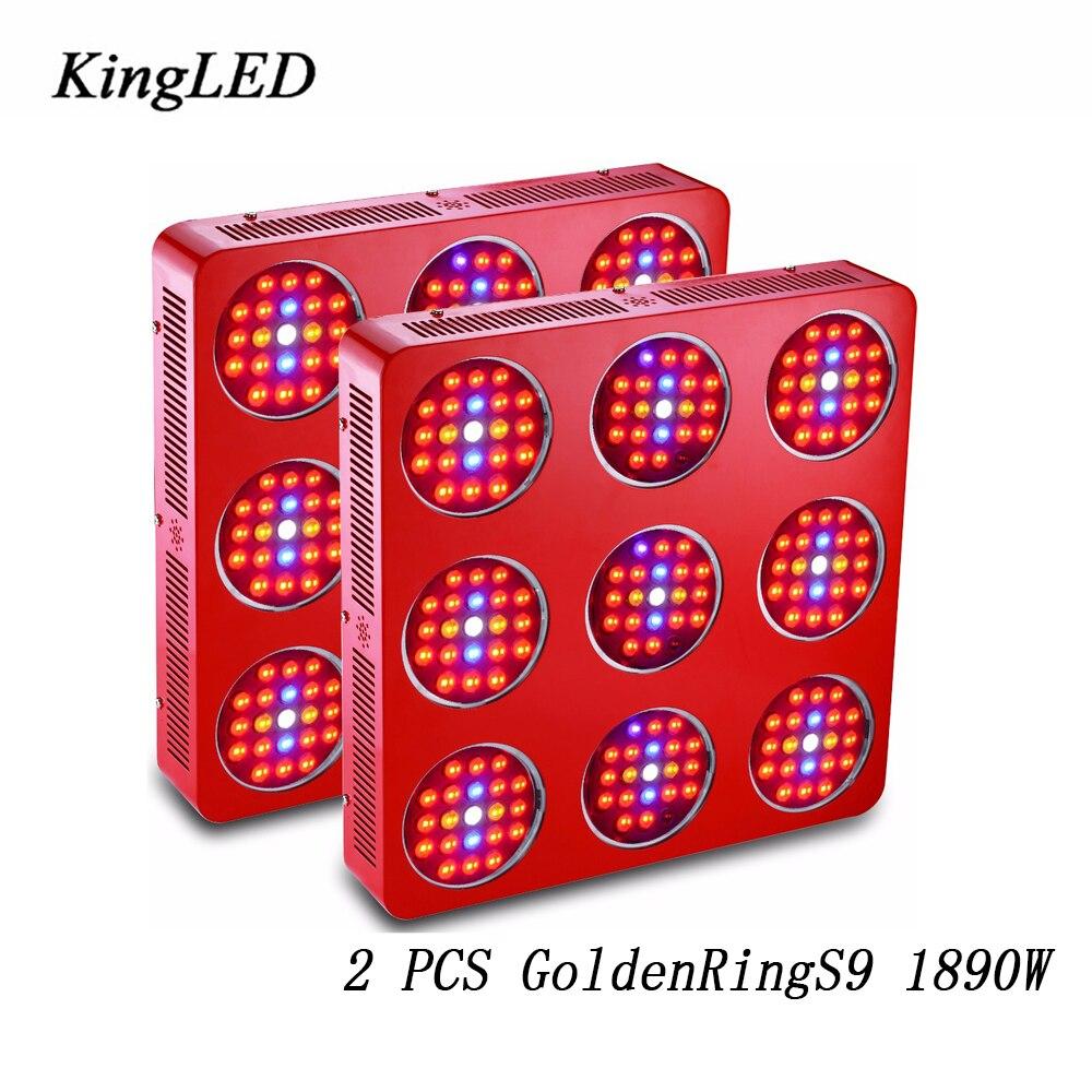 2 PCS GoldenRing S9 1890 W Double Puces LED Élèvent La Lumière Plein Spectre Armés Avec Intégré Puissance Objectif Pour Plantes et Végétative