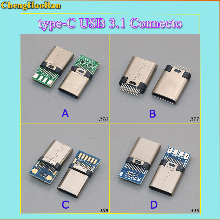 ChengHaoRan New 2-10PCS USB Power Connector Charge Dock Port Plug Type-C USB 3.1 Connecto Type C USB Male Jack