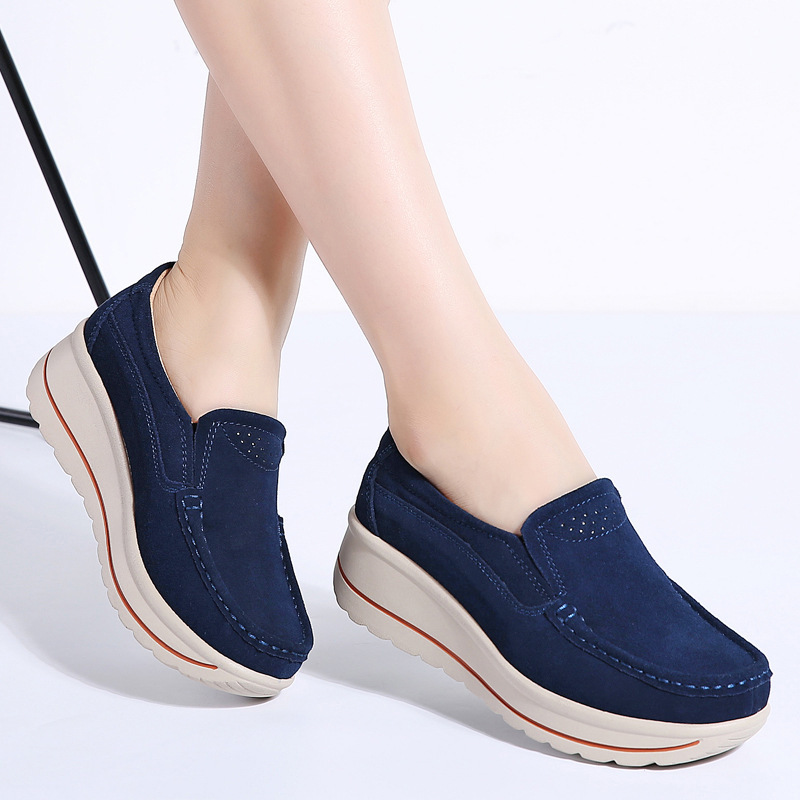 Krosovki Spring Autumn Genuine Leather Women Shoes Platform Slip on Creepers Moccasins Shoes Slipony Female Suede Women Sneakers in Women 39 s Flats from Shoes