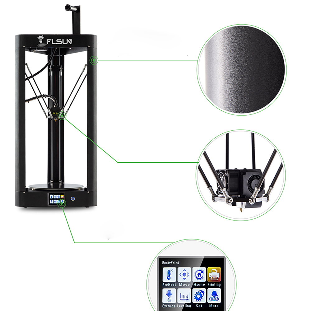 Image 5 - FLSUN QQ S 2019 High speed Delta 3D Printer, Large Plus Size 255*360mm kossel 3d Printer Upgrade Auto leveling touch screen-in 3D Printers from Computer & Office