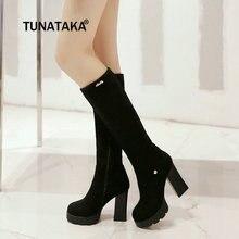 Women Platform Chunky High Heel Knee High Boots Fashion Side Zipper Winter Warm Plush Boots Gray Wine Red Black