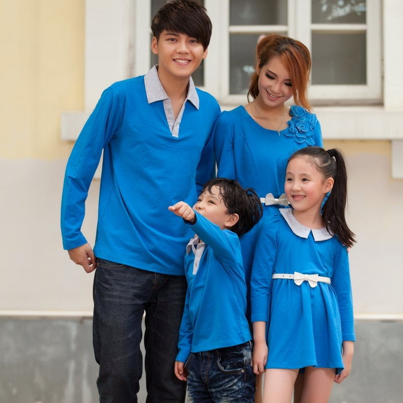 Family fashion 2013 spring and autumn family set family pack long-sleeve T-shirt one-piece dress