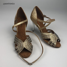 лучшая цена Salsa Dance Shoes Women High Heels 8.5cm 7.5cm Spike Heel Gold Brown Shine Glitter Social Party Ballroom Bachata Latin Dance New