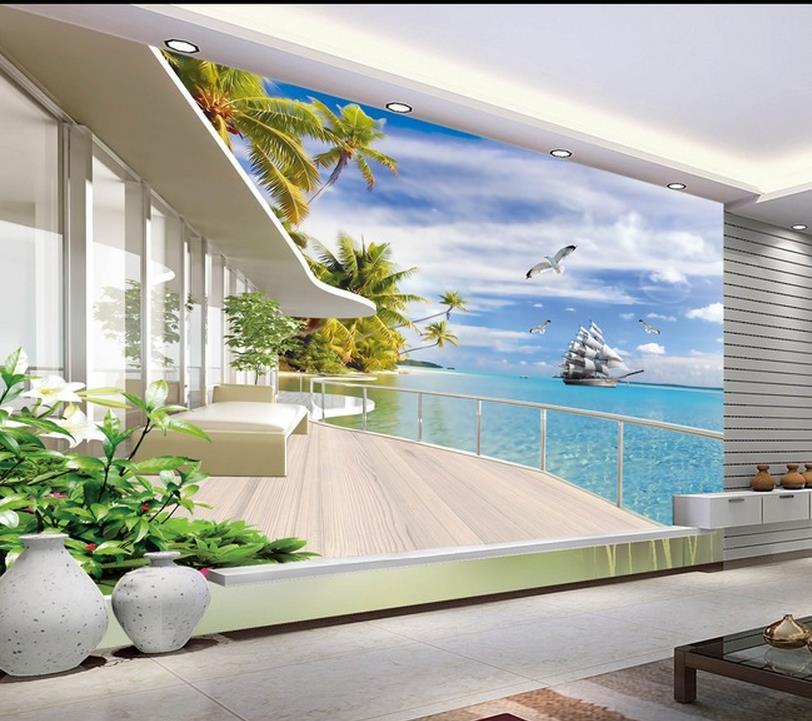 Wallpaper House Beautiful: Dinding Yang Modern 3D Mural Wallpaper, Hd Maladewa