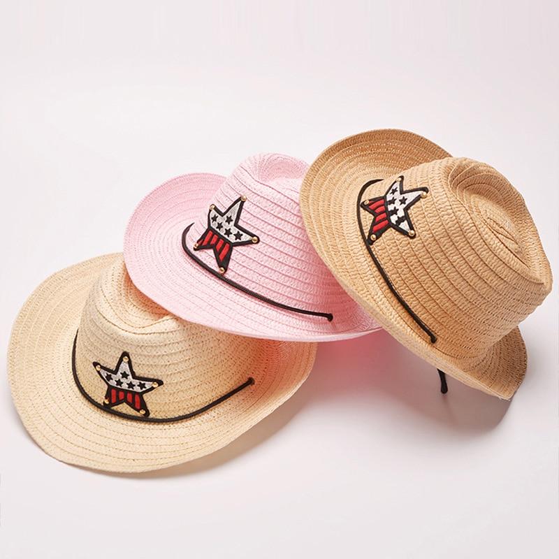f95898ac6b893a Outdoor Children Cowboy Hat Summer Straw Cap For Boys Girls Children's Star  Patch Sun Hat Cute