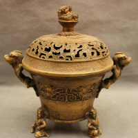 USPS To USA S1491 10 Tibet Bronze Dragon Beast Japanese Buddha Statue Box Incense Burner Censer